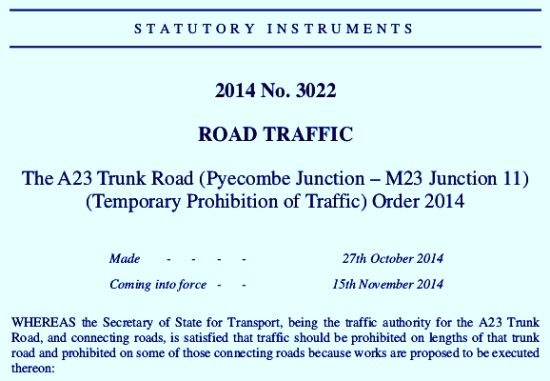 A23 closures: a licence to cone