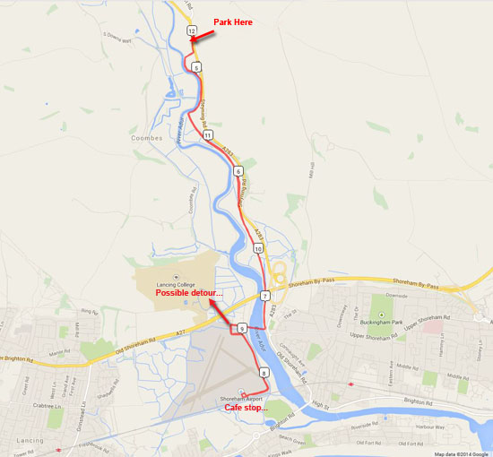 Map of flat MTB route to Shoreham Airport (small)