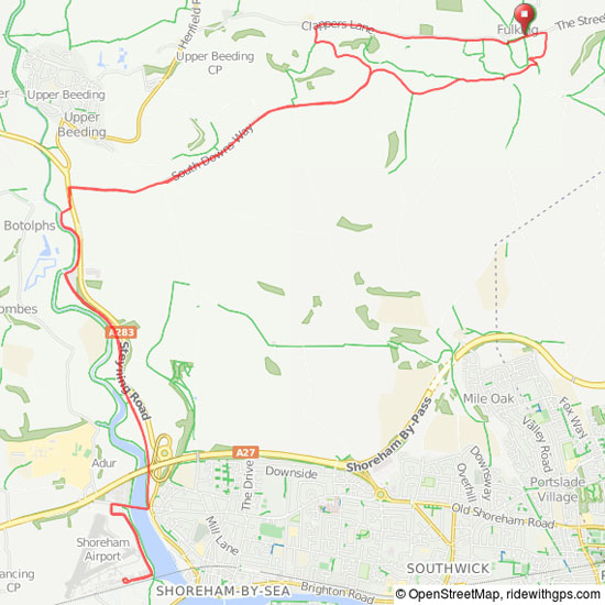 Map of Fulking to Shoreham MTB route (small)