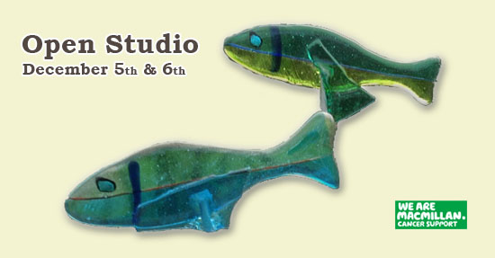 Shards Open Studio Banner - Glass Fish on yellow background