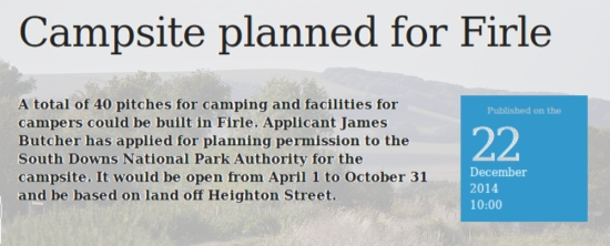 Campsite planned for Firle