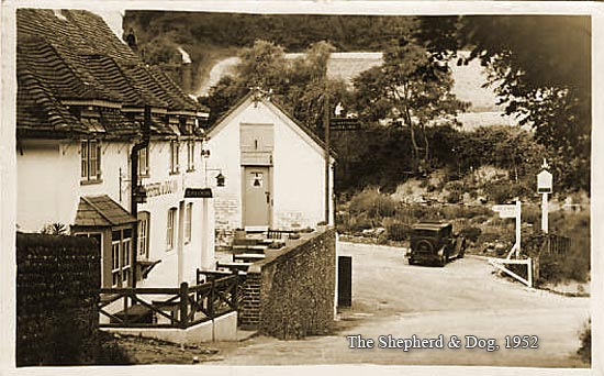 Sepia picture of Shepherd & Dog Pub, Fulking. Taken 1952