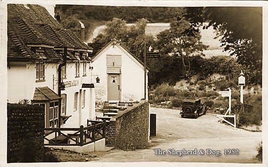 Sepia picture of Shepherd & Dog Pub, Fulking. Taken 1952