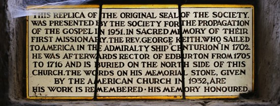 George Keith Memorial Window inscription