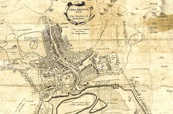 James Gordon map of Aberdeen 1661