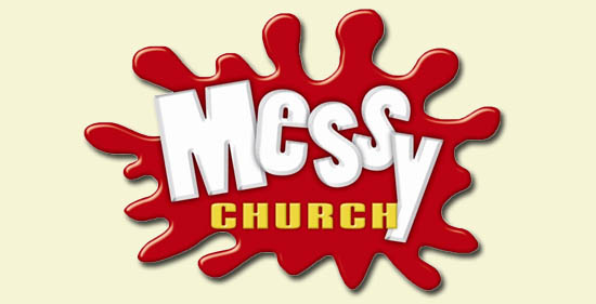 Messy Church Logo - text on red blob