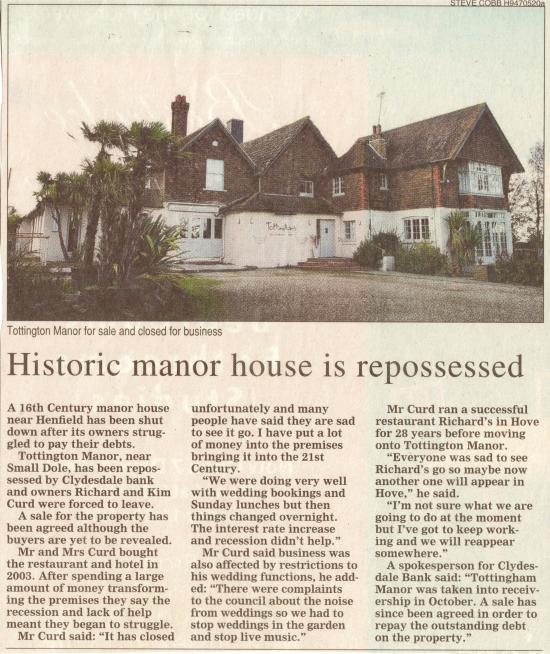 Tottington Manor, Edburton, is repossessed