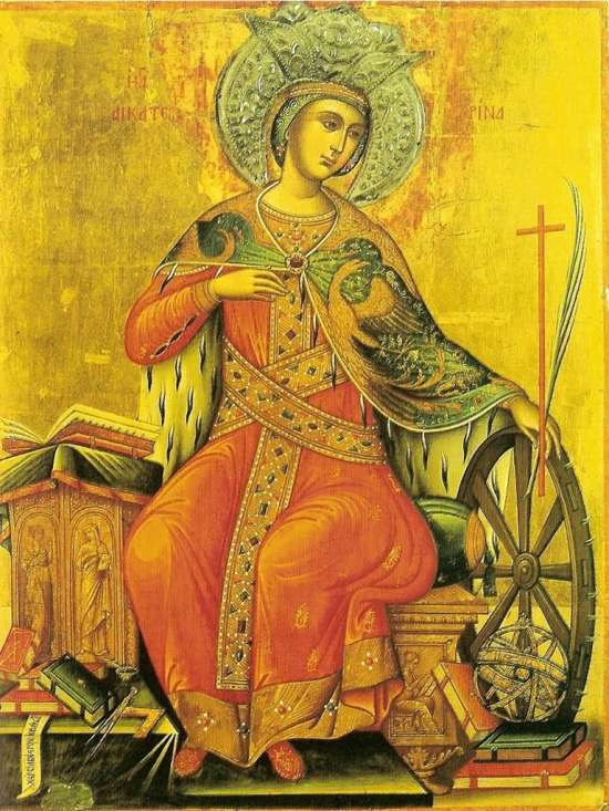 St. Katherine with her hand resting on the eponymous wheel