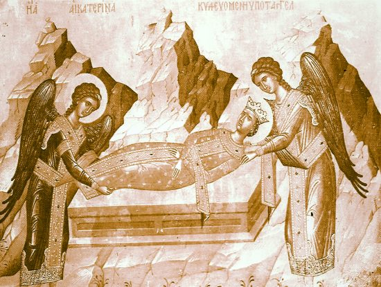 Two angels prepare to take the body of St. Katherine to Mount Sinai