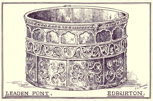 An 1882 drawing by J. Lewis Andre of the font at St. Andrew's Edburton