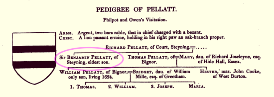 Pedigree of Pellatt, James Dallaway 1830 page 160