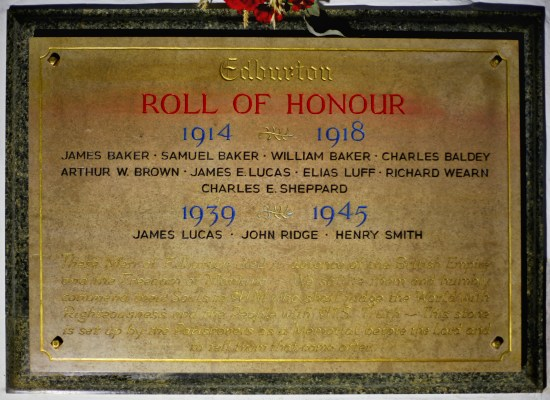 The roll of honour for both world wars at St. Andrew's Edburton