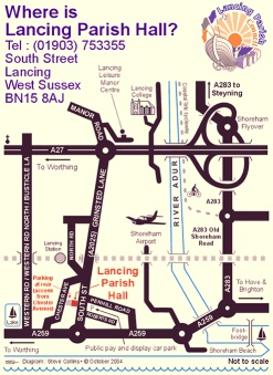 Lancing Parish Hall map