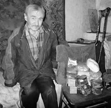 Ukrainian with food parcel black and white
