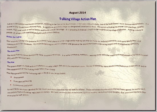 Fulking Village Action Plan 2014