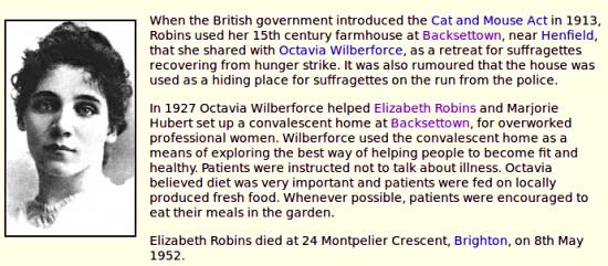 Elizabeth Robins and Backsettown