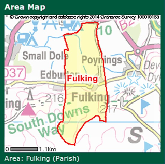 Fulking parish area map