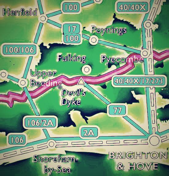 Bus routes around Fulking