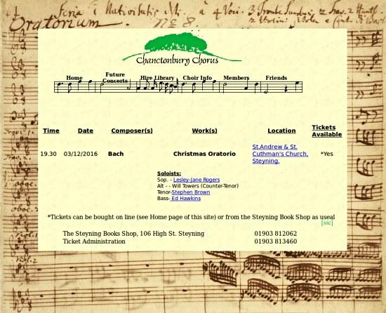 Chanctonbury Chorus Bach Christmas Oratorio Steyning
