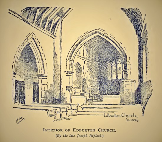 Interior of Edburton Church by Joseph Diplock