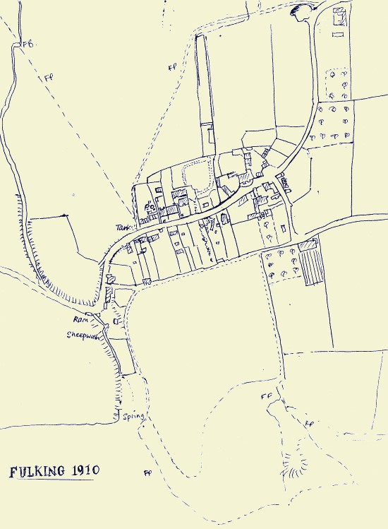 A map of Fulking in 1910