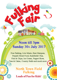 Poster for 2017 Fulking Fair - Graphic house on green hill with details