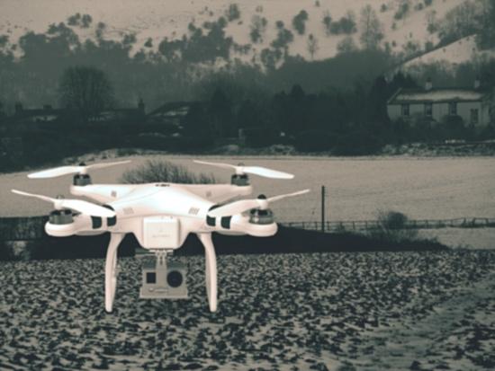 Drone lands in Fulking