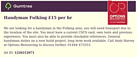 Handyman Fulking £15 per hour