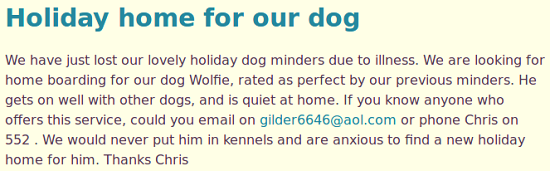 Dogminder required