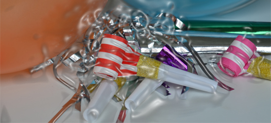 Stylised balloons, tinsel and trumped things