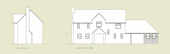 Line drawing of proposal for Perching Farm Cottage