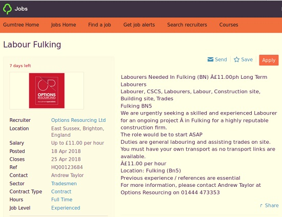 Labourers needed in Fulking