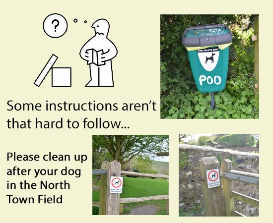 Cartoon man and images of dog bin and signs