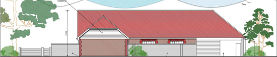 Drawing of Barn Cottage with red roof