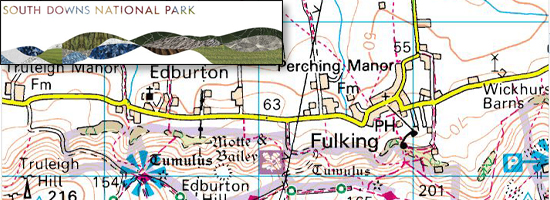 Map of Fulking with SDNPA logo
