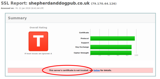 The server's certificate is not trusted.