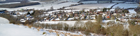 Fulking Village from Downs in Snow
