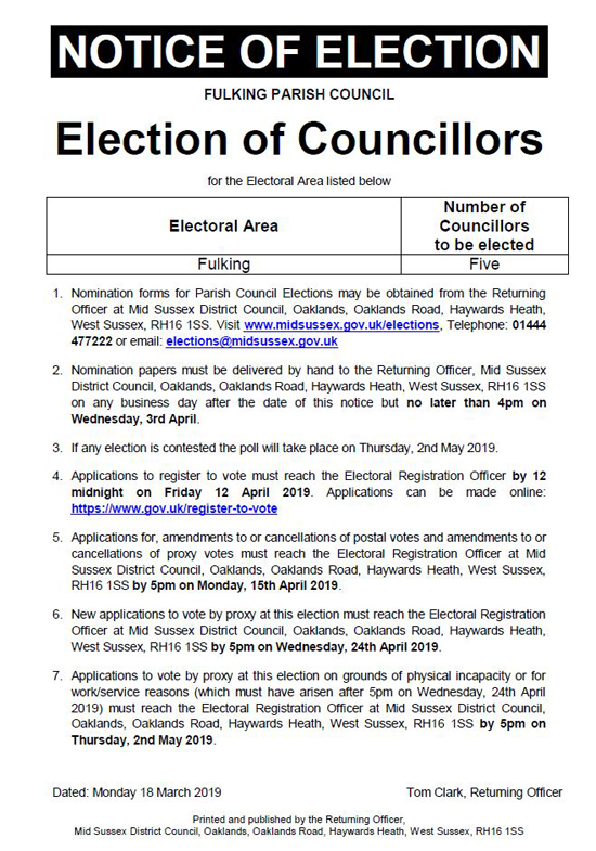 Notice of 2019 PC Elections